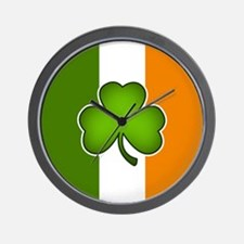 Irish Flag with Shamrock Wall Clock