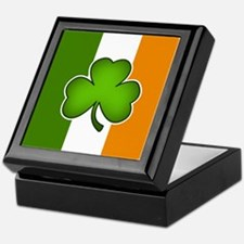 Irish Flag with Shamrock Keepsake Box