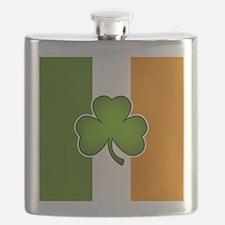 Irish Flag with Shamrock Flask