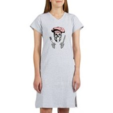 Knife and Fork Skull: Pink Women's Nightshirt