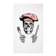 Knife and Fork Skull: Pink Area Rug