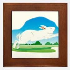 Leaping Rabbit in the Field Framed Tile