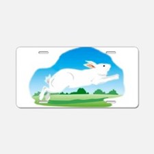 Leaping Rabbit in the Field Aluminum License Plate