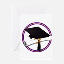 Graduation Cap with Diploma,Purple Greeting Cards