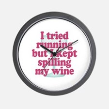 Wine vs Running Lazy Humor Wall Clock