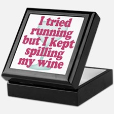 Wine vs Running Lazy Humor Keepsake Box