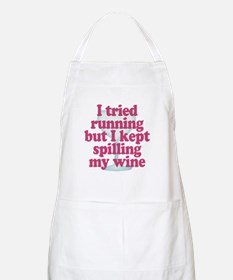 Wine vs Running Lazy Humor Apron