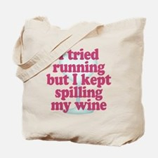 Wine vs Running Lazy Humor Tote Bag