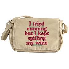 Wine vs Running Lazy Humor Messenger Bag