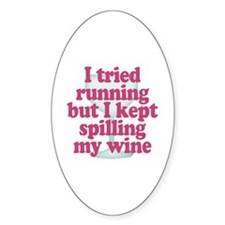 Wine vs Running Lazy Humor Decal