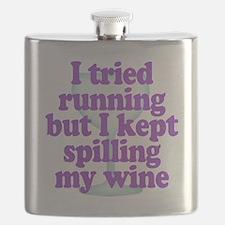 Wine vs Running Lazy Humor Flask