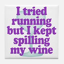 Wine vs Running Lazy Humor Tile Coaster
