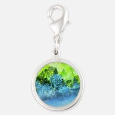 Landscape Trees and Water Hold Silver Round Charm