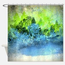 Landscape Trees and Water Hold Shower Curtain