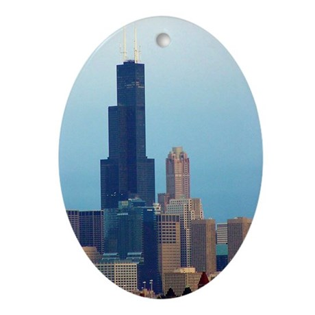 Sears Tower 2 Oval Ornament