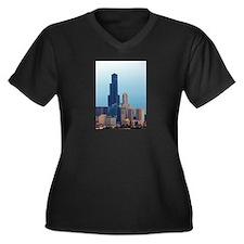 Sears Tower 2 Women's Plus Size V-Neck Dark T-Shir