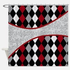 Argyle and Old Lace Red Gray and Bl Shower Curtain