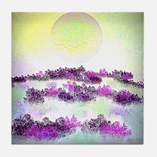 Purple Trees and Yellow Sun Glow Tile Coaster