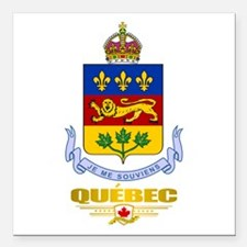 "Quebec COA Square Car Magnet 3"" x 3"""