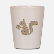 floral squirrel Shot Glass