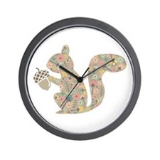 floral squirrel Wall Clock