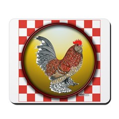Checkerboard D'Uccle Rooster Mousepad