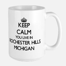 Keep calm you live in Rochester Hills Michiga Mugs