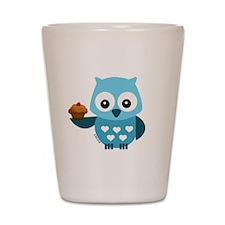 Pretty Blue Owl Shot Glass