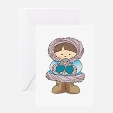 ESKIMO WITH PENGUIN Greeting Cards