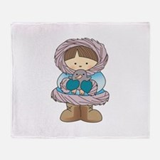 ESKIMO WITH PENGUIN Throw Blanket