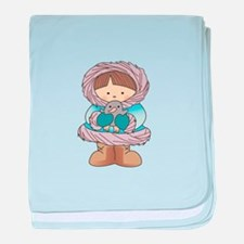 ESKIMO WITH PENGUIN baby blanket