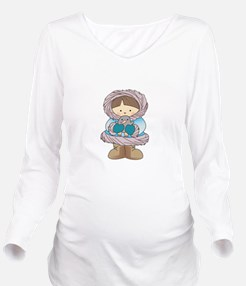 ESKIMO WITH PENGUIN Long Sleeve Maternity T-Shirt