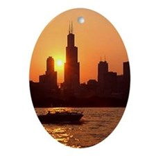 Sears Tower As The Sun Sets Oval Ornament