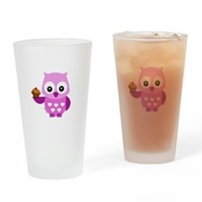 Pretty Pink Owl Drinking Glass