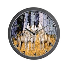 Howling Wolves Trio Wall Clock