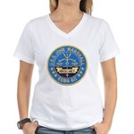 USS JOHN MARSHALL Women's V-Neck T-Shirt