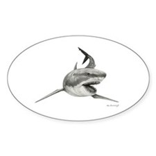 Great White Shark ~ Sticker (oval)