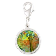 Spring Silver Round Charm