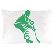 Green Hockey Player Pillow Case