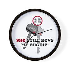 She Revs My Engine 25 Wall Clock