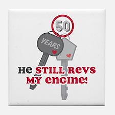 He Revs My Engine 50 Tile Coaster