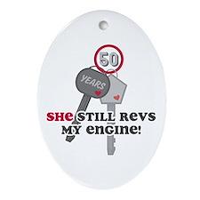 She Revs My Engine 50 Ornament (Oval)