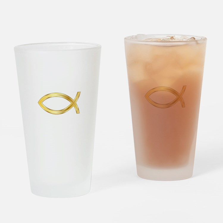 LARGE CHRISTIAN FISH Drinking Glass