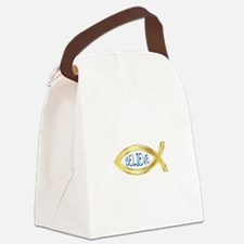 CHRISTIAN FISH BELIEVE Canvas Lunch Bag