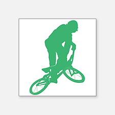Green BMX Biker Silhouette Sticker