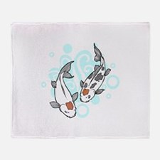 KOI AND WATER Throw Blanket