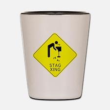 Beware Stag Crossing Shot Glass