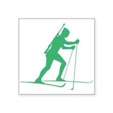 Green Biathlete Silhouette Sticker