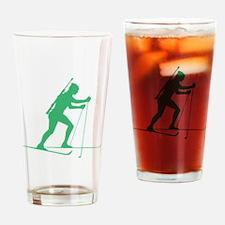 Green Biathlete Silhouette Drinking Glass