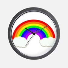 Rainbow in the clouds Wall Clock